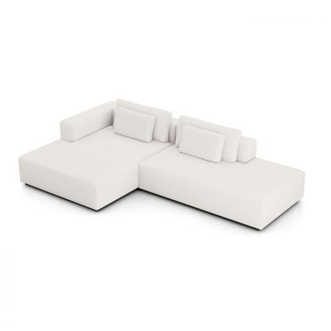 Spruce Sectional Left Chaise and End Unit - Chalk Fabric