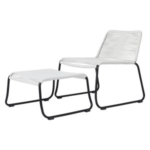 Barclay Lounge Chair and Ottoman - White Regatta Cord, Frame in Black Steel