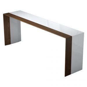 Beckenham Console Table - Glossy White Lacquer and Walnut