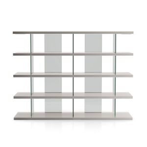 Beekman Bookcase - Glossy Chateau Gray Lacquer with Clear Glass