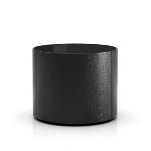 Berkeley Side Table - Black Glass and Black Crocco Reclaimed Leather