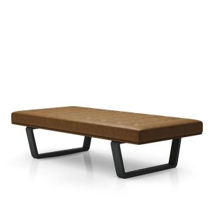 Charlton Bench - Aged Caramel Leather, Legs in Black Oak