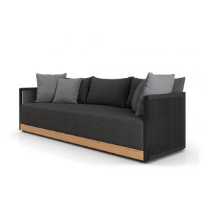 Cushions in Peppercorn Fabric, Body in Black Cord, Accent Pillows in Mink Gray, Structure in Black Steel