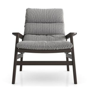 Fulton Lounge Armchair - Mixed Marble Fabric and Seared Ash Wood