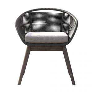 Jesper Outdoor Armchair - Dark Gray Regatta Cord, Frame in Weathered Eucalyptus, Seat in Feather Gray Fabric