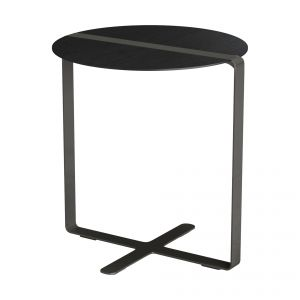 Jones Side Table - Black Oak and Polished Godiva Steel