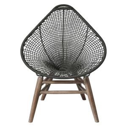 Lucida Accent Outdoor Chair - Dark Gray Regatta Cord, Frame in Weathered Eucalyptus
