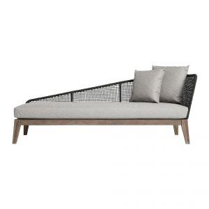 Netta Outdoor Left Chaise - Feather Gray Fabric, Back in Dark Gray Regatta Cord, Frame in Weathered Eucalyptus