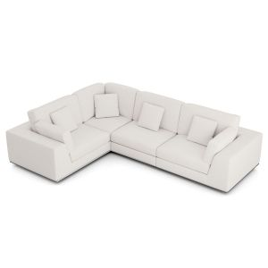 Perry Sectional 2 Arm Corner Compact Sofa - Chalk Fabric