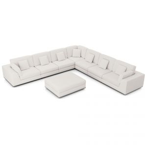 Perry Sectional Large 2 Arm Corner Sofa with Ottoman - Chalk Fabric