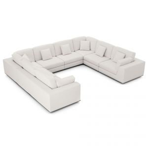 Perry Sectional U Sofa - Chalk Fabric