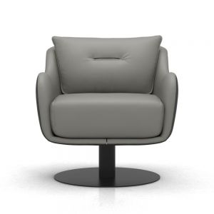 Platt Lounge Armchair - Warm Grey and Graphite Leathers