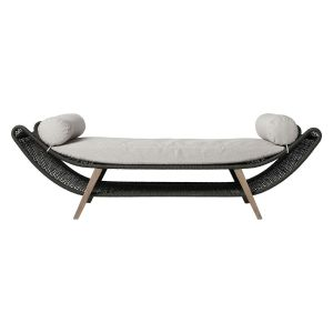 Reverie Outdoor Bench - Feather Gray Fabric, Body in Dark Gray Regatta Cord, Legs in Weathered Eucalyptus