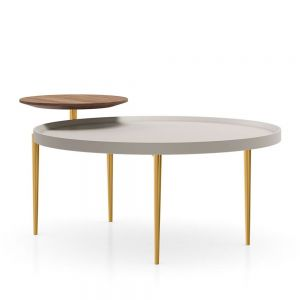 Shubert Coffee Table - Matte Chateau Gray, Upper Top in Walnut, Base in Polished Gold
