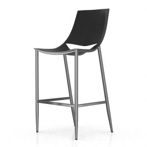 Sloane Bar Stool -Black Leather and Carbon Steel