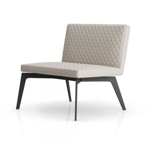 Spring Lounge Chair - Opala Leather, Base in Graphite Steel