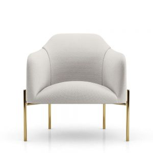 Tiemann Lounge Armchair - Birch Fabric, Legs in Polished Gold Steel
