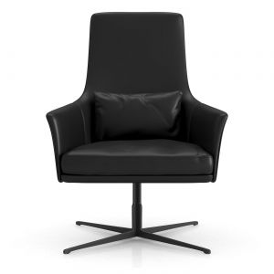 Vanderbilt Lounge Armchair - Jet Black Leather, Base in Black Stainless Steel