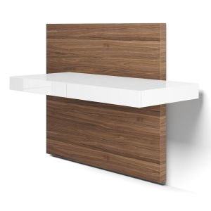 Walker Desk - Glossy White Lacquer, Back Panel in Walnut