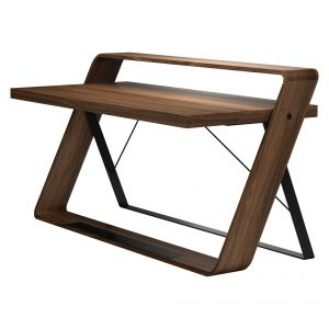 Watts Desk - Solid Walnut, Frame in Matte Black Steel
