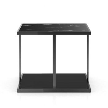 Ann Side Table - Matte Black Marble