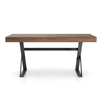 Barrow Desk - Walnut on Matte Asphalt Steel