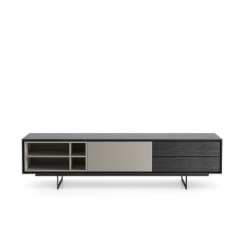 Baxter Media Cabinet - Gray Oak / Matte Chateau Grey Lacquer