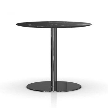 Bleecker 36in. Bistro Table - Black Marble and Polished Black Nickel