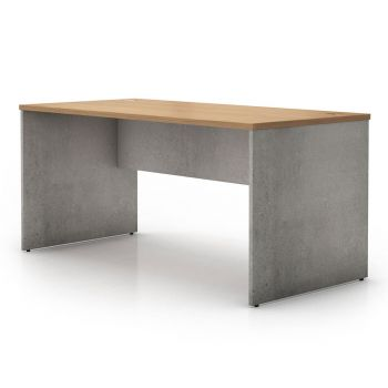 Broome Desk - Latte Walnut on Weathered Concrete
