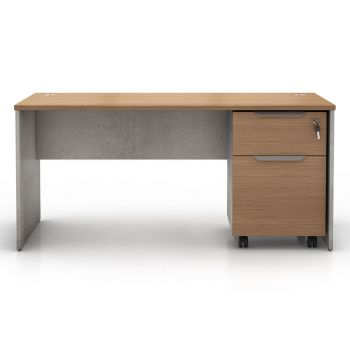 Broome Desk Set - Latte Walnut on Weathered Concrete