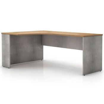 Broome Left Corner Desk - Latte Walnut on Weathered Concrete