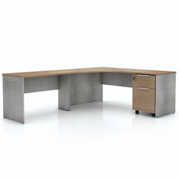 Broome Left Corner Desk Set - Latte Walnut on Weathered Concrete