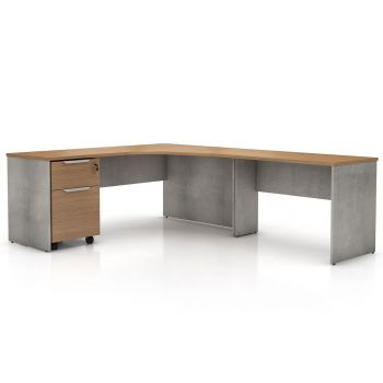 Broome Right Corner Desk Set - Latte Walnut on Weathered Concrete