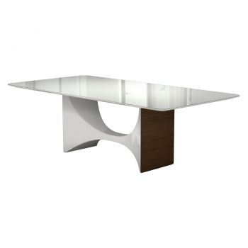 Camden Dining Table  - White Glass on Glossy White Lacquer and Walnut