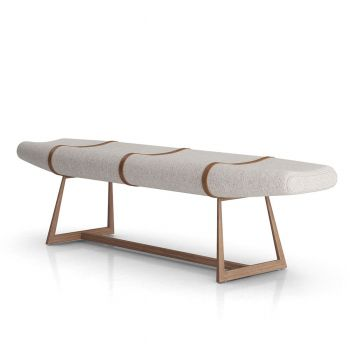 Carey Bench - Oatmeal Fabric, Frame in Rovere Grigio, Seams in Aged Caramel Leather