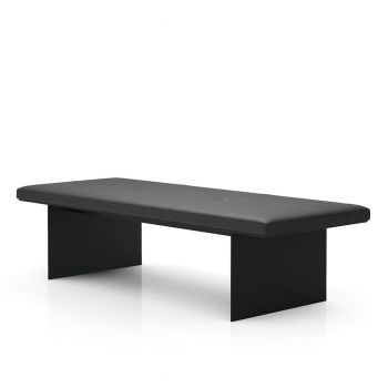 Chambers Bench - Graphite Leather, Base in Matte Black Steel