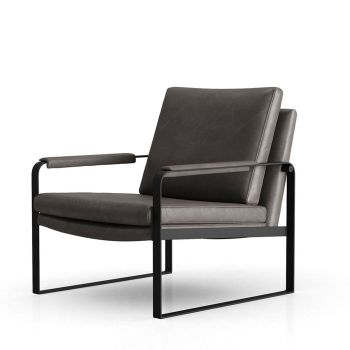 Charles Lounge Armchair - Gunmetal Vintage Leather with Black Base