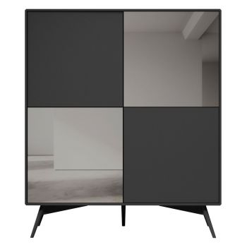 Christopher Highboard - Matte Dark Gull Grey Lacquer and Smoked Mirror