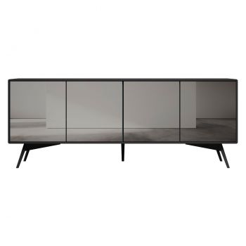 Christopher Sideboard - Matte Dark Gull Grey Lacquer and Smoked Mirror