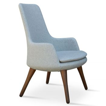 Dervish Lounge Wood High Back Armchair by sohoConcept