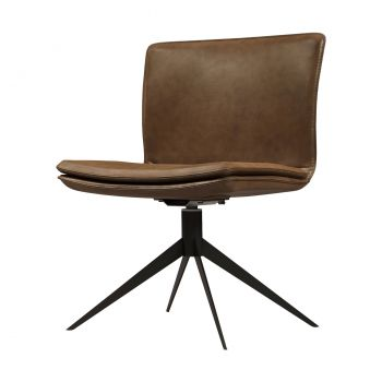 Duane Chair - Aged Caramel Leather on Matte Black Steel