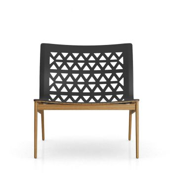 Elmstead Lounge Chair - Black Leather and Teak