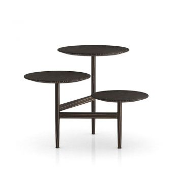 Hatton Side Table - Aged Cappuccino Reclaimed Leather and Cathedral Ebony