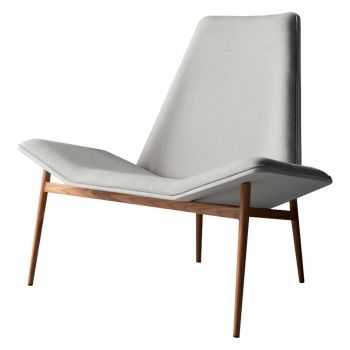 Kent Lounge Chair - Seat Raw Linen, Back in White Leather, Frame in Teak