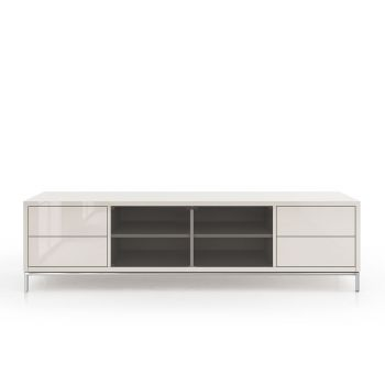 Lenox Media Cabinet - Glossy Chateau Grey Lacquer