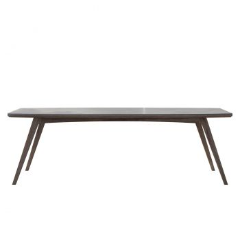 Liam Outdoor Dining Table - Super Stone Concrete, Legs in Weathered Eucalyptus