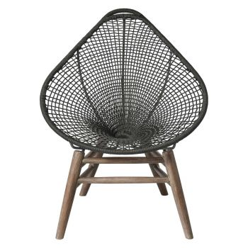 Lucida Accent Outdoor Chair - Dark Gray Regatta Cord, Frame in Weathered Eucalyptus