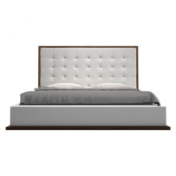 Ludlow Bed - White Eco Leather and Walnut
