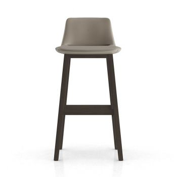 Mercer Bar Stool - Castle Grey Eco Leather and Seared Ash Wood