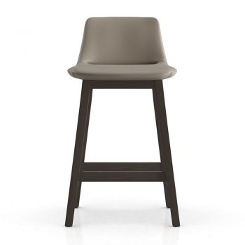 Mercer Counter Stool - Castle Grey Eco Leather and Seared Ash Wood